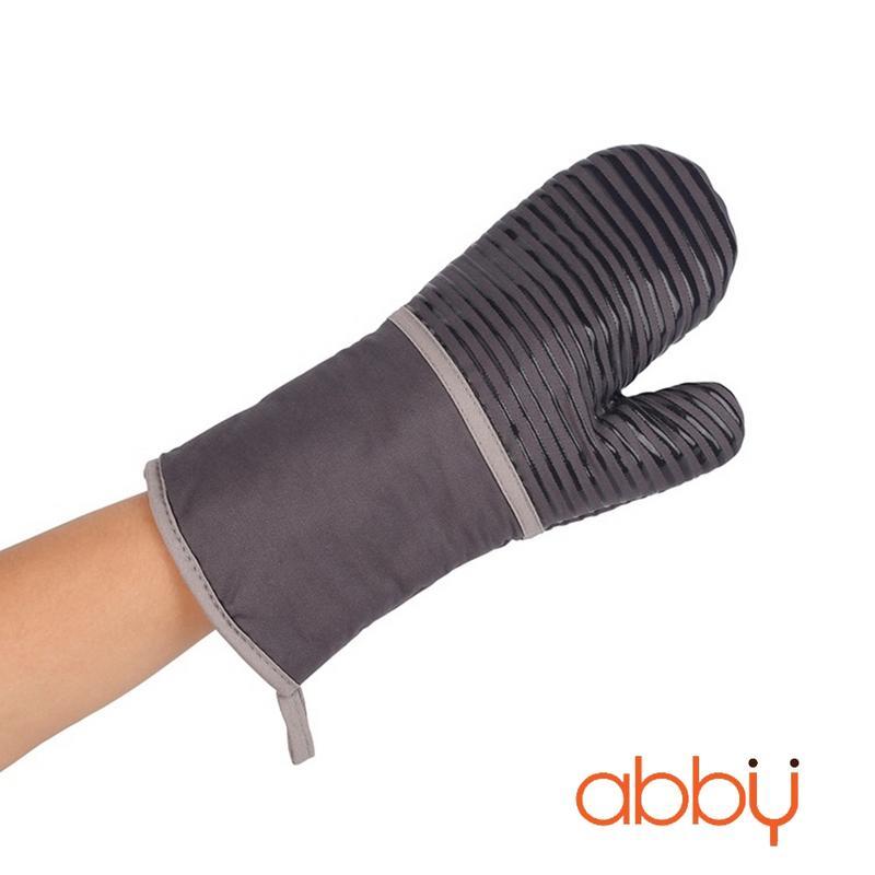 Găng tay chống nhiệt vải thô 33cm kẻ xám (130g)