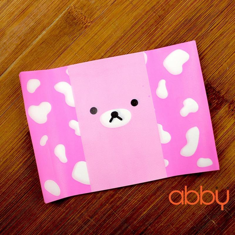 Giấy gói kẹo hình gấu hồng 13x9cm (48 - 50 tờ)