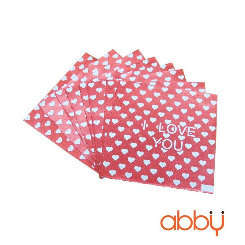 Giấy bọc socola trái tim chấm bi 9x9cm (48 - 50 tờ)