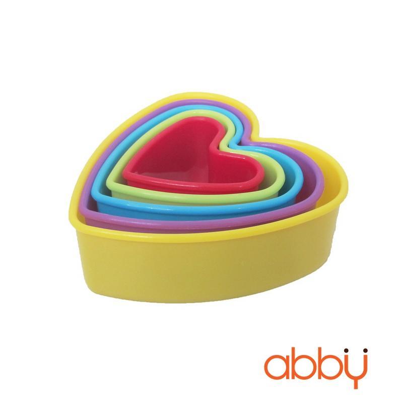 Bộ 5 khuôn nhấn trái tim bằng nhựa
