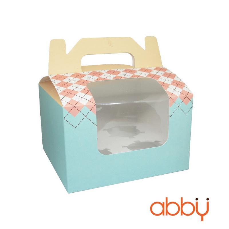 Hộp cupcake pastel kèm khay (4 ô)