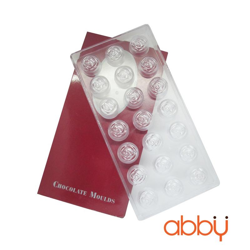 Khuôn nhựa socola 21 viên hình hoa hồng
