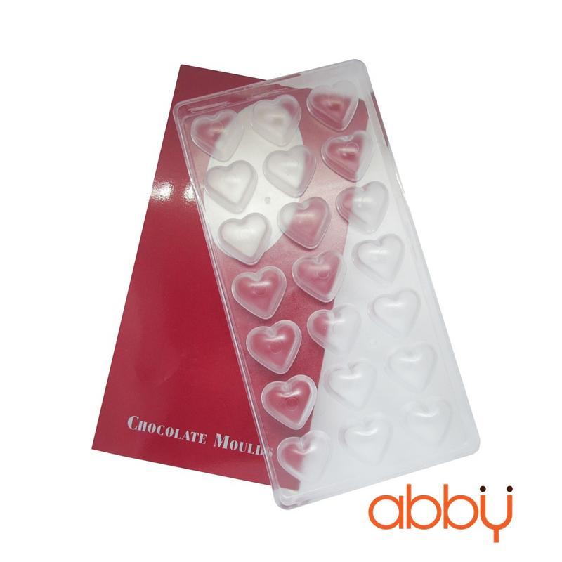 Khuôn nhựa socola 21 viên hình trái tim