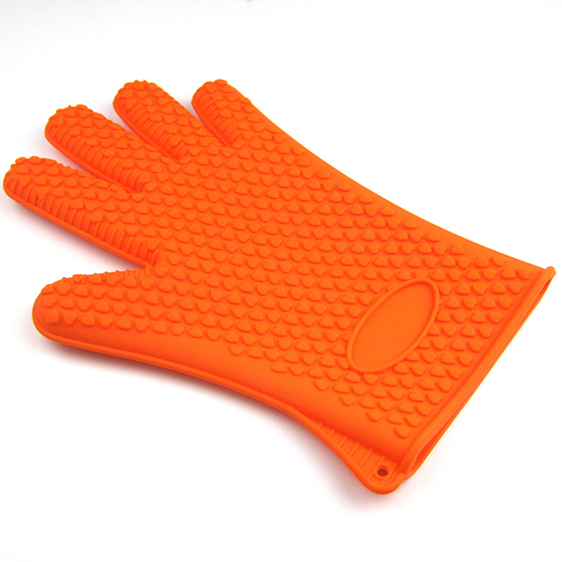 Găng tay chống nhiệt silicon 23cm màu cam (130g)