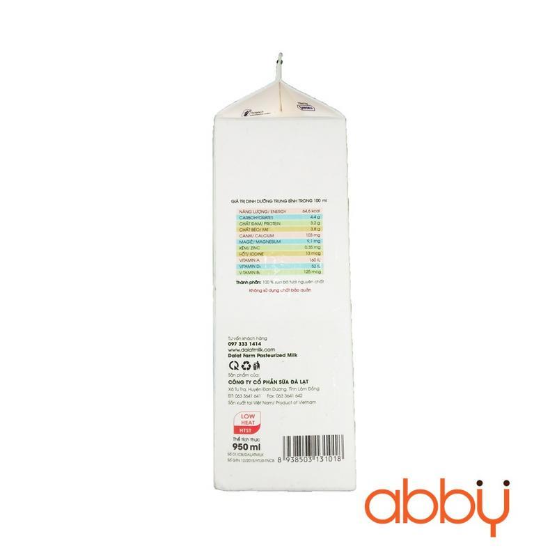 Sữa tươi thanh trùng Dalatmilk 950ml