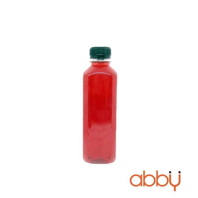 Chai nhựa PET vuông nắp đen 330ml (10 chai)