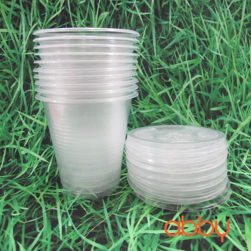 Cốc nhựa nắp bằng 350ml (10 chiếc)