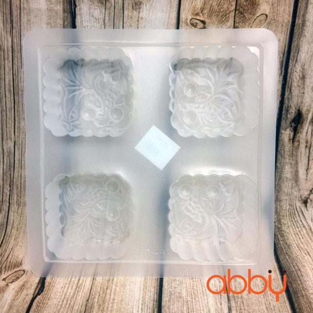 Khuôn nhựa 4 ô bánh trung thu vuông