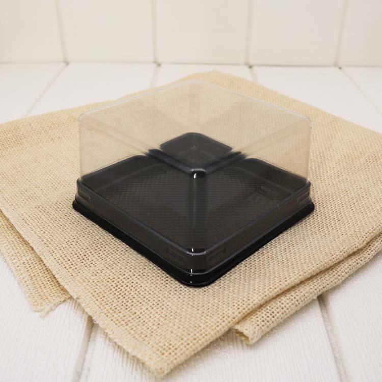Hộp nhựa đế đen nắp trong 12.5x12.5x5.5cm (5 chiếc)