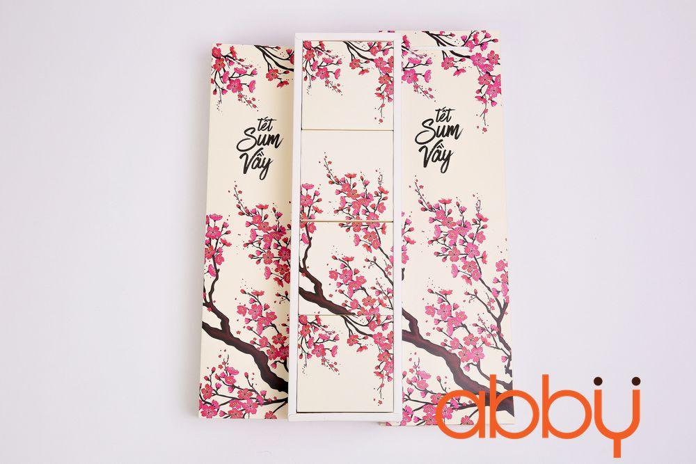 Bộ túi & hộp giấy đựng 4 bánh trung thu 125-250g dáng dọc có hộp con mẫu đào hồng