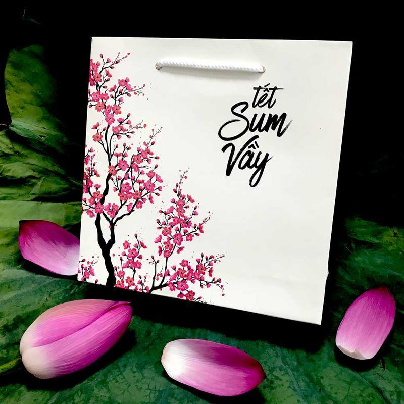 Bộ túi & hộp giấy đựng 4 bánh trung thu 125-250g mẫu đào hồng