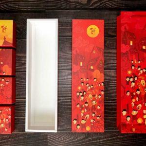 Bộ túi & hộp giấy đựng 4 bánh trung thu 125-250g dáng dọc có hộp con mẫu lễ hội