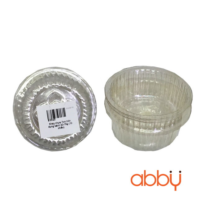 Khay nhựa 7cm tròn đựng bánh 50-75g (10 chiếc)