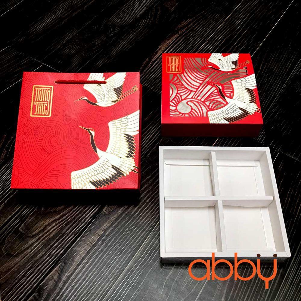Bộ túi & hộp giấy đựng 4 bánh trung thu 125-250g không hộp con mẫu hạc đỏ laser