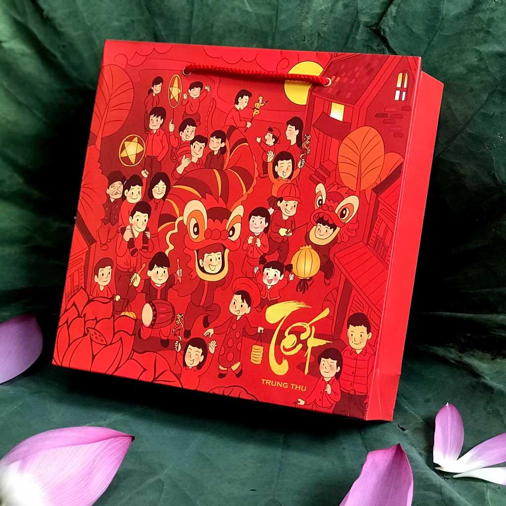 Bộ túi & hộp giấy đựng 4 bánh trung thu 125-250g mẫu lễ hội có in chữ