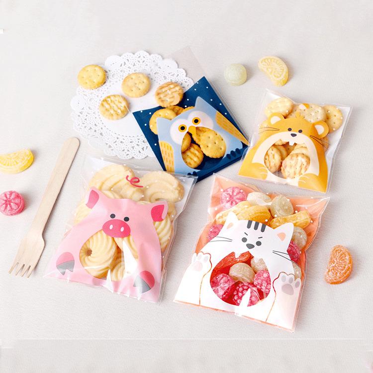 Túi đựng bánh quy lợn hồng 12x10cm (10 chiếc)