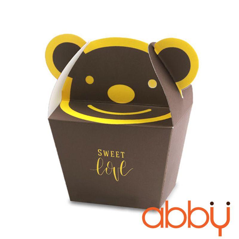 Hộp giấy đựng bánh quy gấu Pooh màu nâu 13.5x10.5x4cm