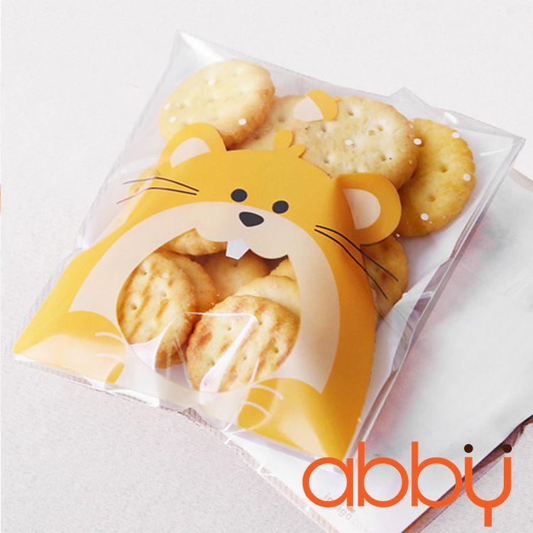 Túi đựng bánh quy chuột vàng 12x10cm (10 chiếc)