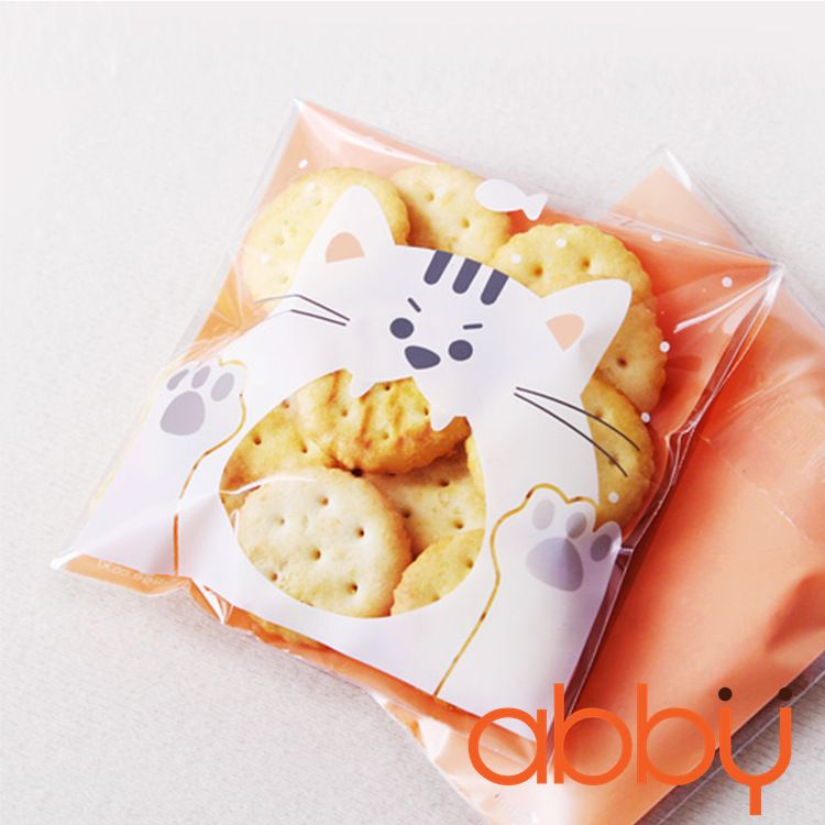 Túi đựng bánh quy mèo trắng 12x10cm (10 chiếc)