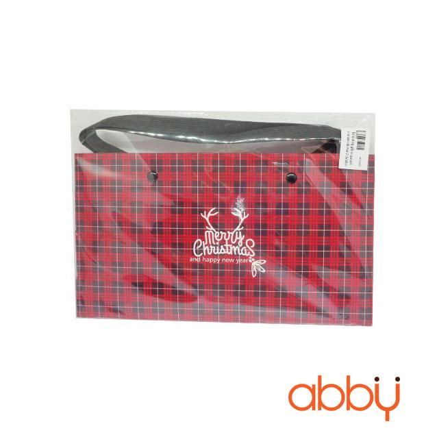 Bộ túi và hộp giấy có quai xách in kẻ caro mẫu Noel 21.5x7x5cm