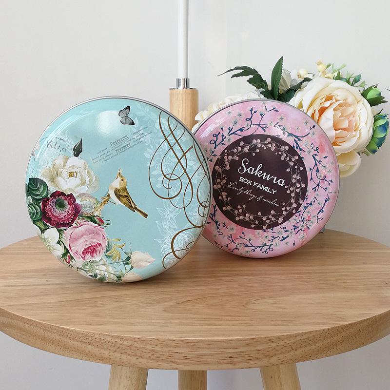 Hộp thiếc tròn 13.5x6.5cm Chim và hoa