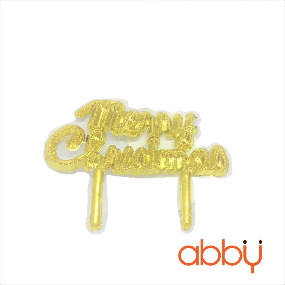 Que cắm chữ Merry Christmas kim tuyến