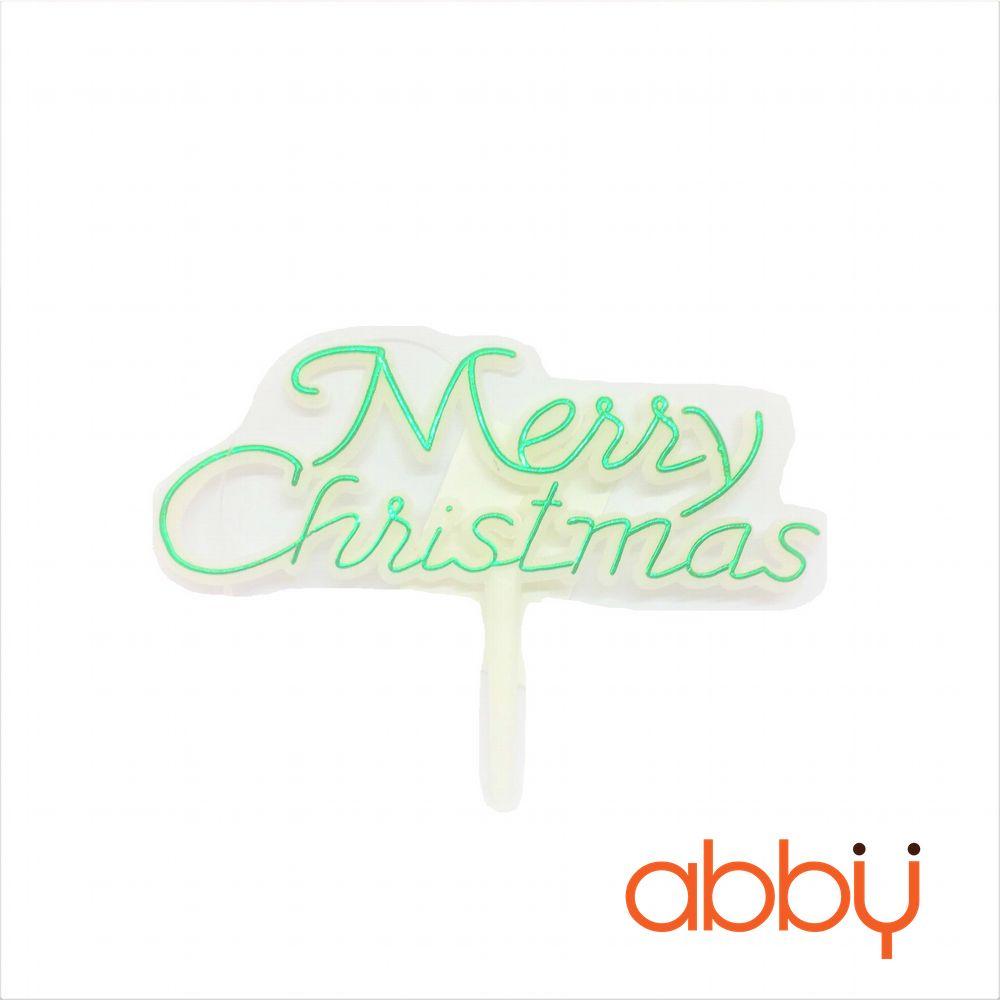 Que cắm chữ Merry Christmas có viền