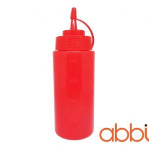Chai nhựa đựng tương màu đỏ 16oz