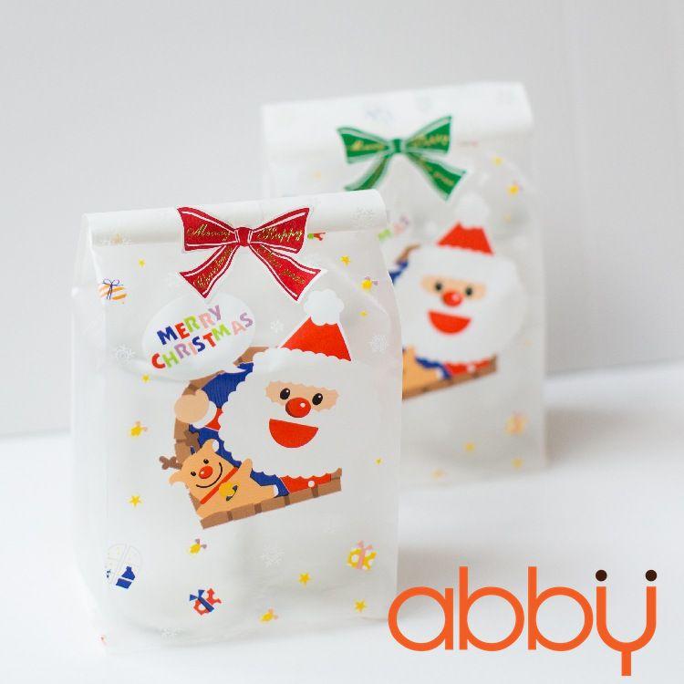 Túi đựng bánh quy 25x7cm Ông già Noel và tuần lộc (10 chiếc)