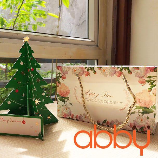 Bộ túi và hộp giấy có quai xách Happy time 21.5x7x5cm