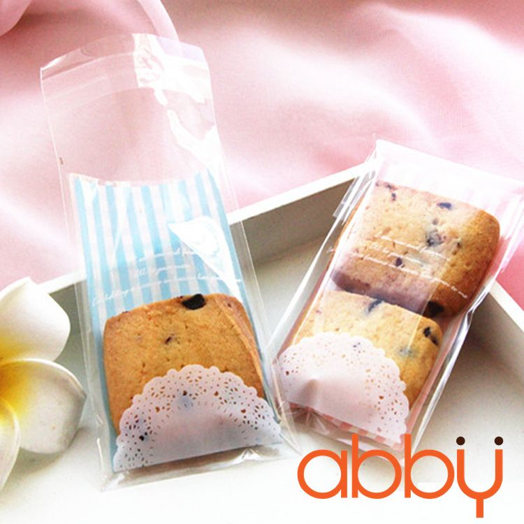 Túi đựng bánh quy kẻ sọc 10x6cm (10 chiếc)
