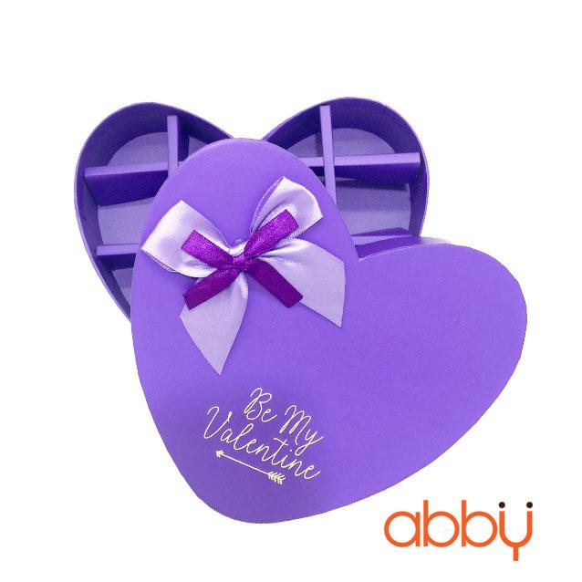 Hộp socola trái tim 14 viên Be my Valentine màu tím