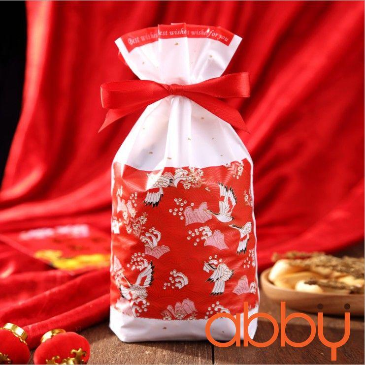 Túi đựng bánh quy có dây rút hạc đỏ (5 chiếc)