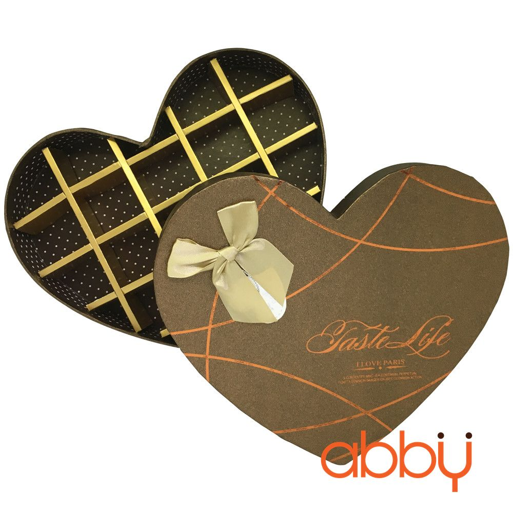 Hộp socola hình trái tim 18 viên Taste life vàng kim