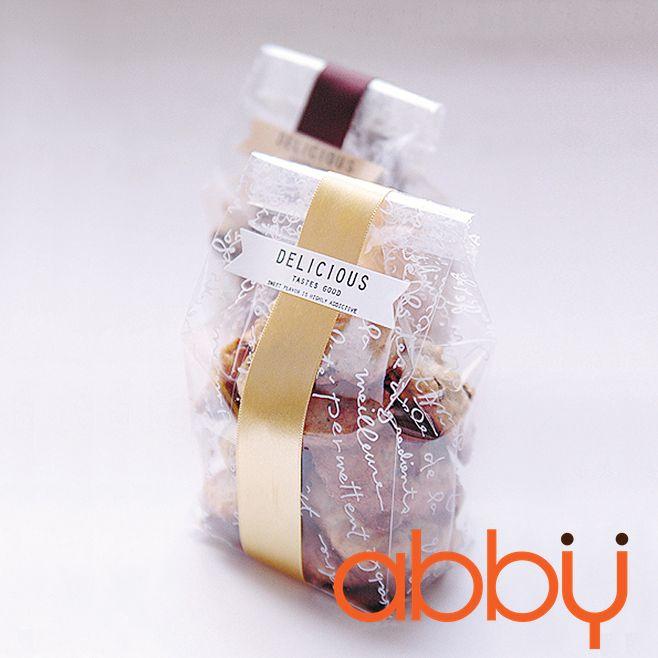 Túi đựng bánh quy kèm bìa vàng 25x8.5cm (10 bộ)