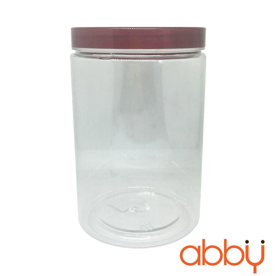 Hộp nhựa hình trụ nắp nhựa nâu 15x10cm