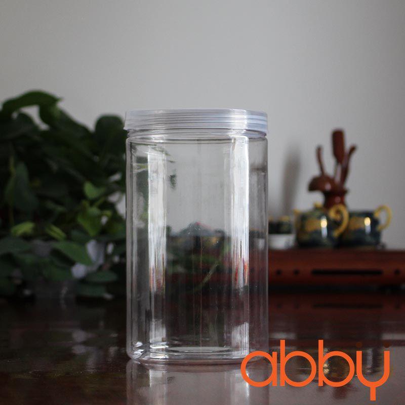Hộp nhựa hình trụ nắp nhựa 12x10cm