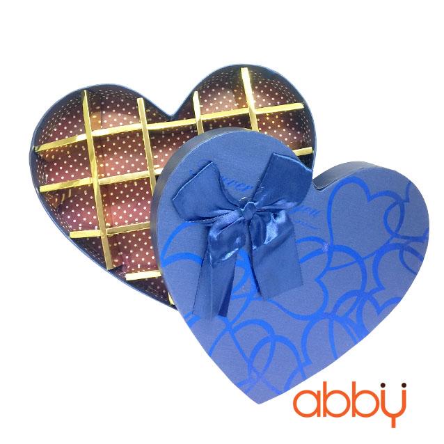 Hộp socola hình trái tim 18 viên nơ xanh