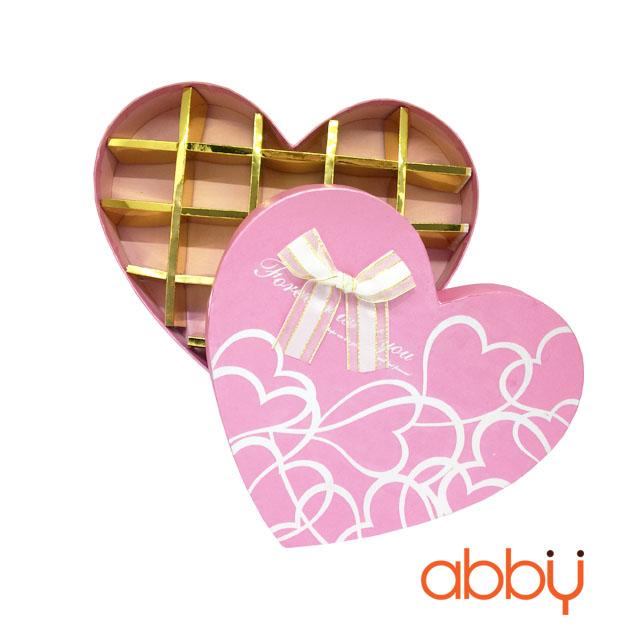 Hộp socola hình trái tim 18 viên nơ hồng