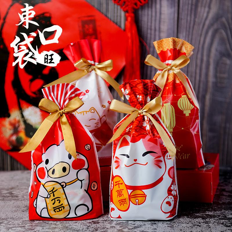 Túi đựng bánh quy có dây rút Mèo Thần Tài (5 chiếc)