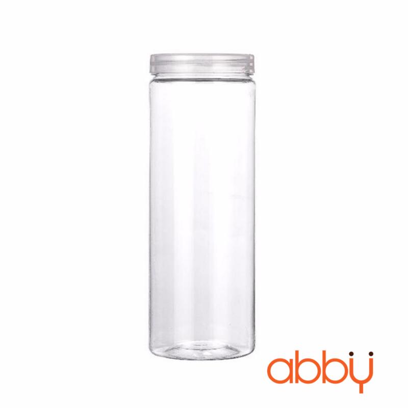 Hộp nhựa hình trụ nắp nhựa trắng 15x6.5cm