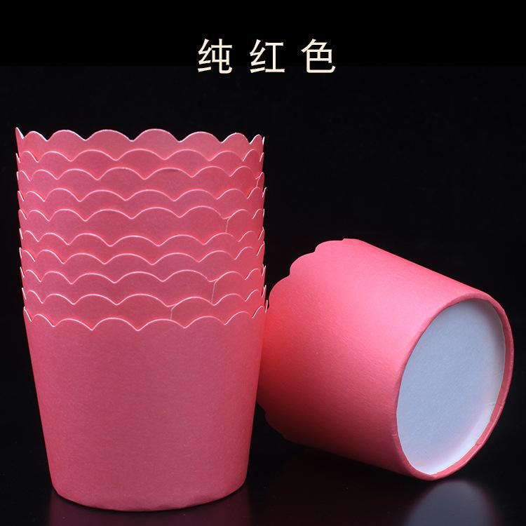 Cup giấy cứng 6x5cm trơn màu đỏ (48 - 50 chiếc)