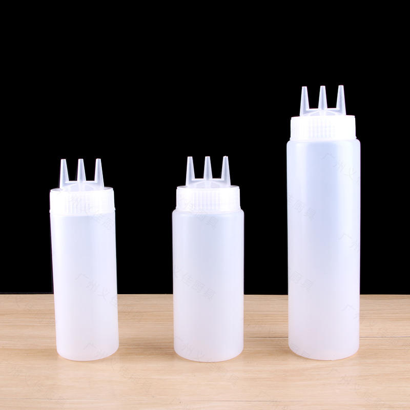 Chai nhựa đựng tương màu trắng 3 đầu 12oz