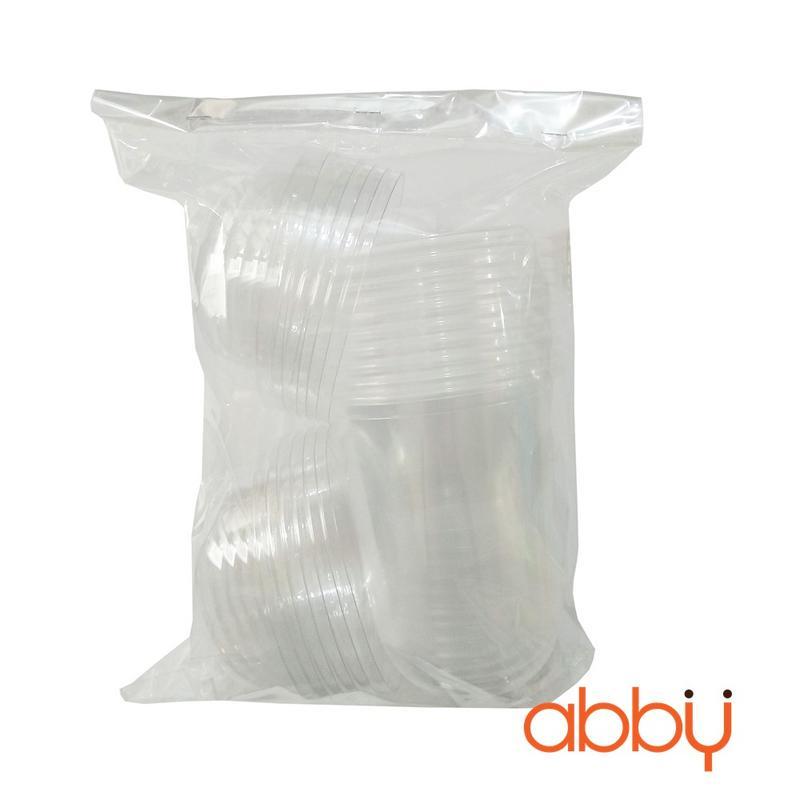 Cốc nhựa đáy bầu nắp cầu 350ml (10 chiếc)