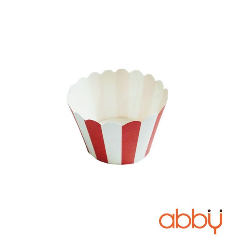 Cup giấy cứng 6x5cm sọc đỏ trắng (48 - 50 chiếc)