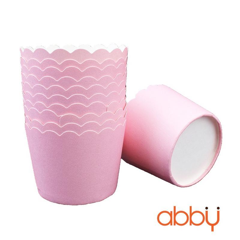 Cup giấy cứng 6x5cm trơn màu hồng (48 - 50 chiếc)