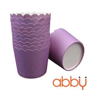 Cup giấy cứng 6x5cm trơn màu tím (48 - 50 chiếc)
