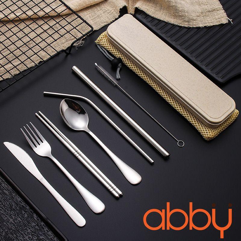 Bộ 7 dụng cụ ống hút, dao, đũa, thìa, dĩa inox