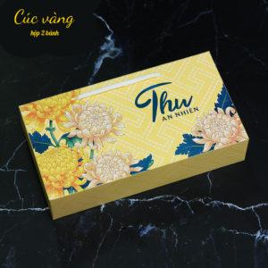Hộp giấy đựng 2 bánh trung thu 125-250g mẫu cúc vàng