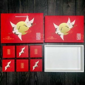 Hộp giấy đựng 6 bánh trung thu 125-150g có hộp con mẫu hạc đỏ